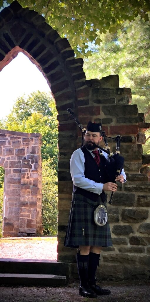 Ross bagpiping at Kingsmere just outside of Ottawa.